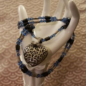 Versatile blue and hematite beaded necklace